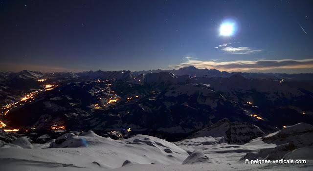 La Tournette (2351m) à skis sous la pleine lune