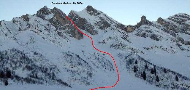Combe à Marion depuis Col des Aravis (2300m)