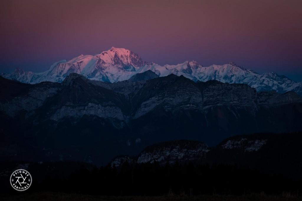 Coucher de soleil rose Mont-Blanc