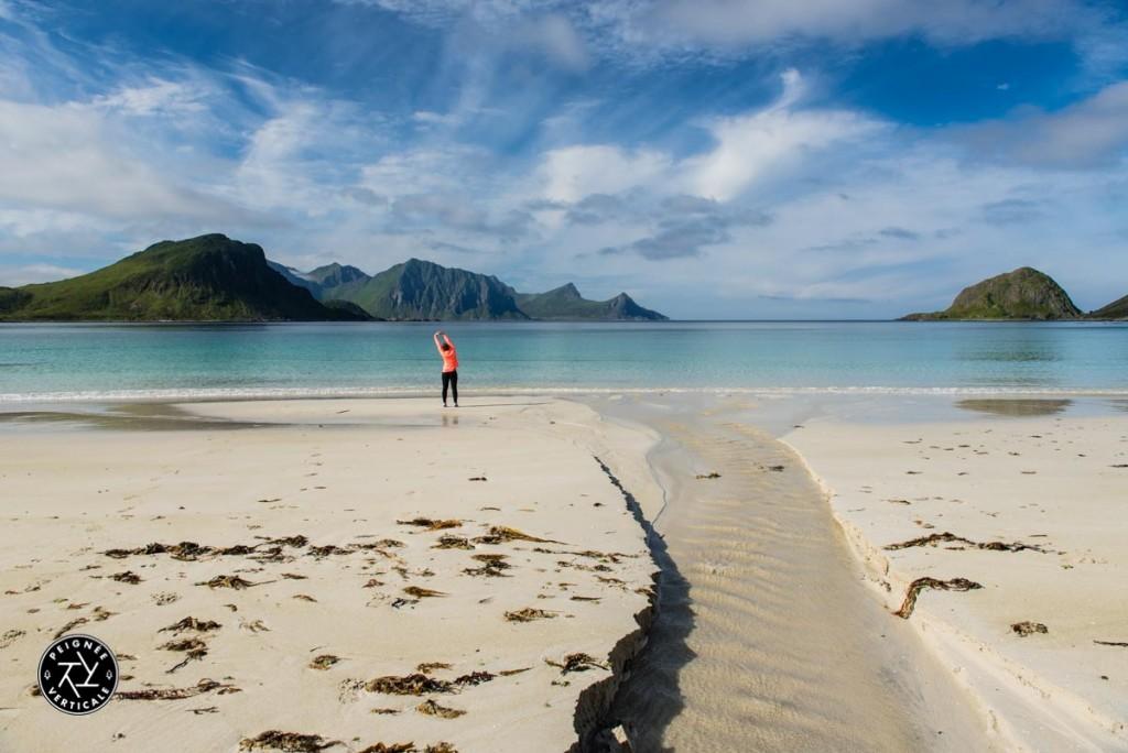 Yoga on Haukland Beach - Norway