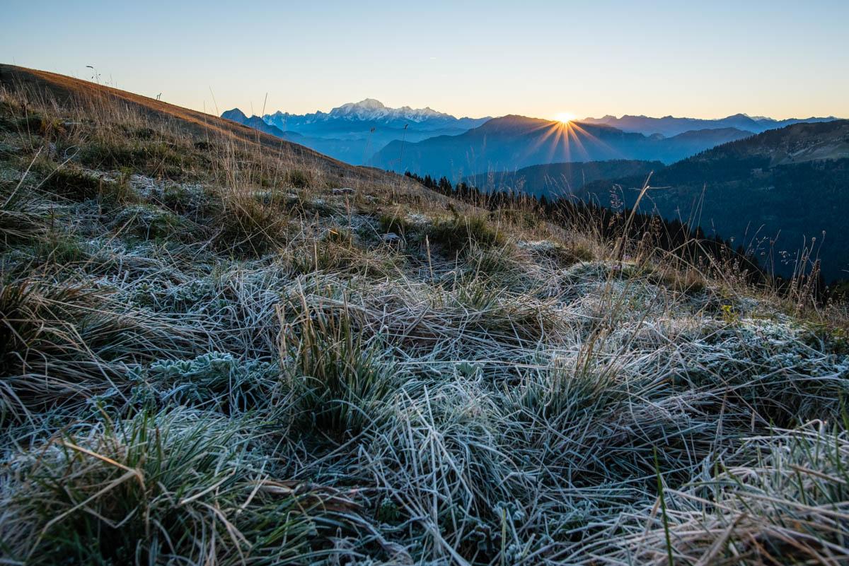 Givre et lever de soleil sur le Mont-Blanc