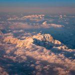 Coucher de soleil sur le Mont Blanc, vu d'avion