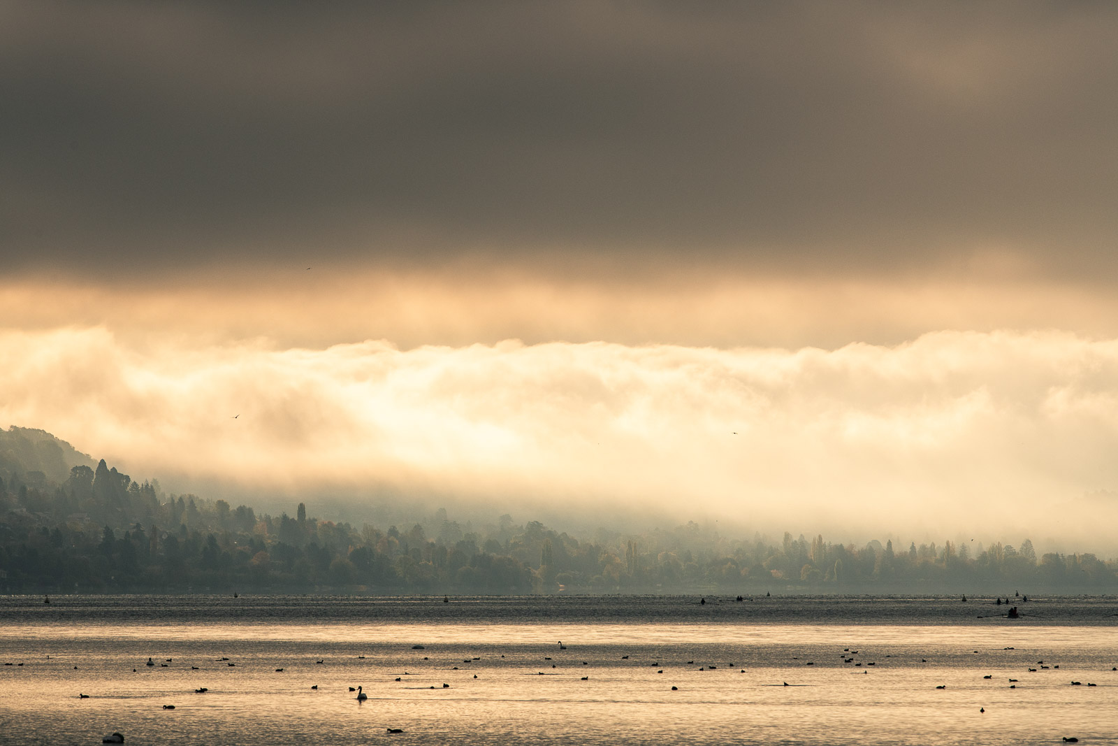 Coucher de soleil Sécheresse Lac d'Annecy
