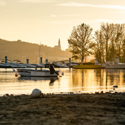 Coucher de soleil lors de la sécheresse du Lac d'Annecy