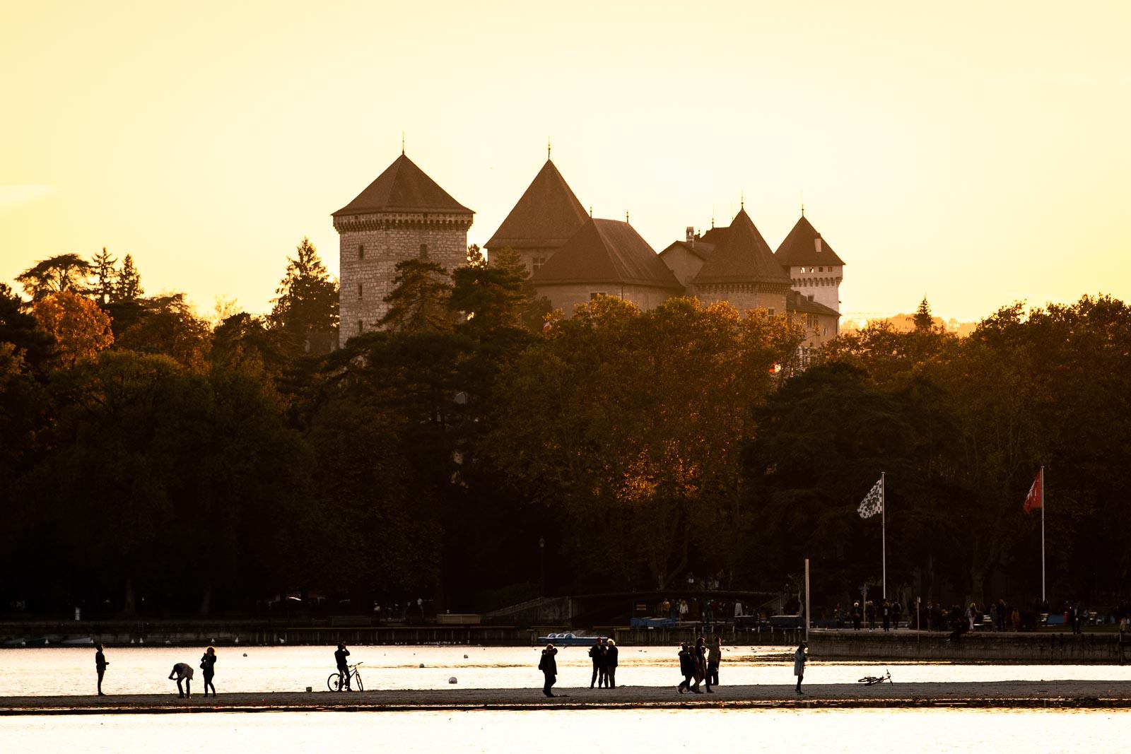 Coucher de soleil chateau d'Annecy