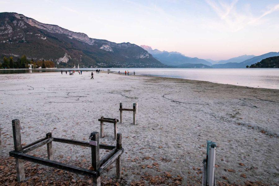 Été 2018 : le Lac d'Annecy à marée basse